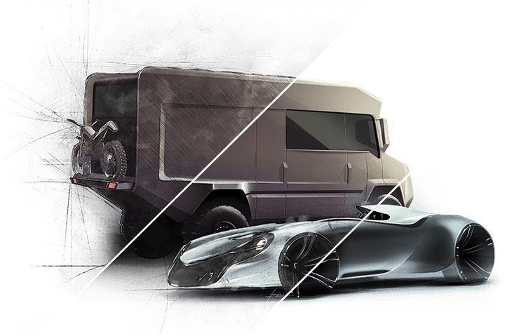 Zwei futuristisch aussehende Fahrzeuge, die zur Hälfte als Zeichnung dargestellt sind
